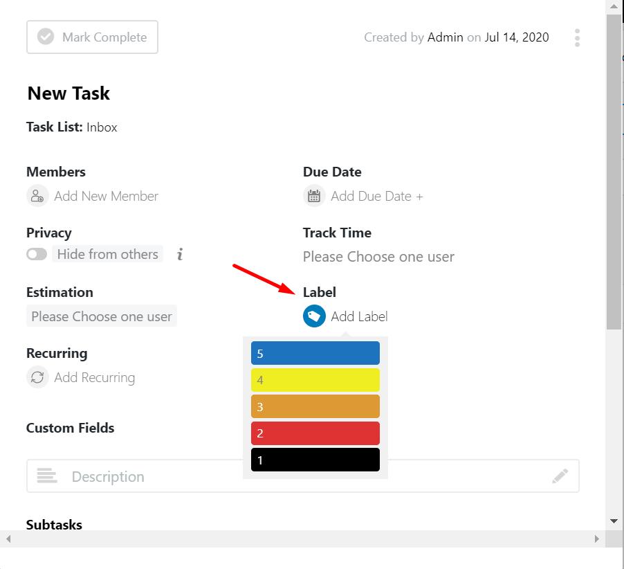 task list- task labeling