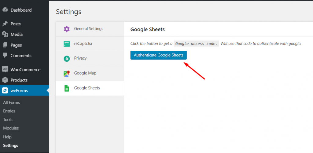 Authenticate google sheets to integrate with weForms