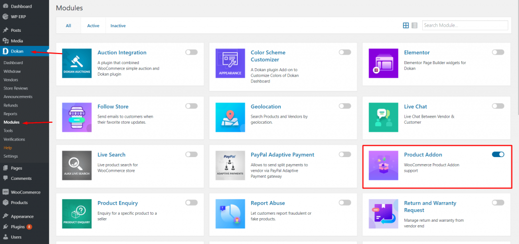 Activate Product Addons Module