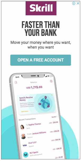 Skrill money transfer ads on other site