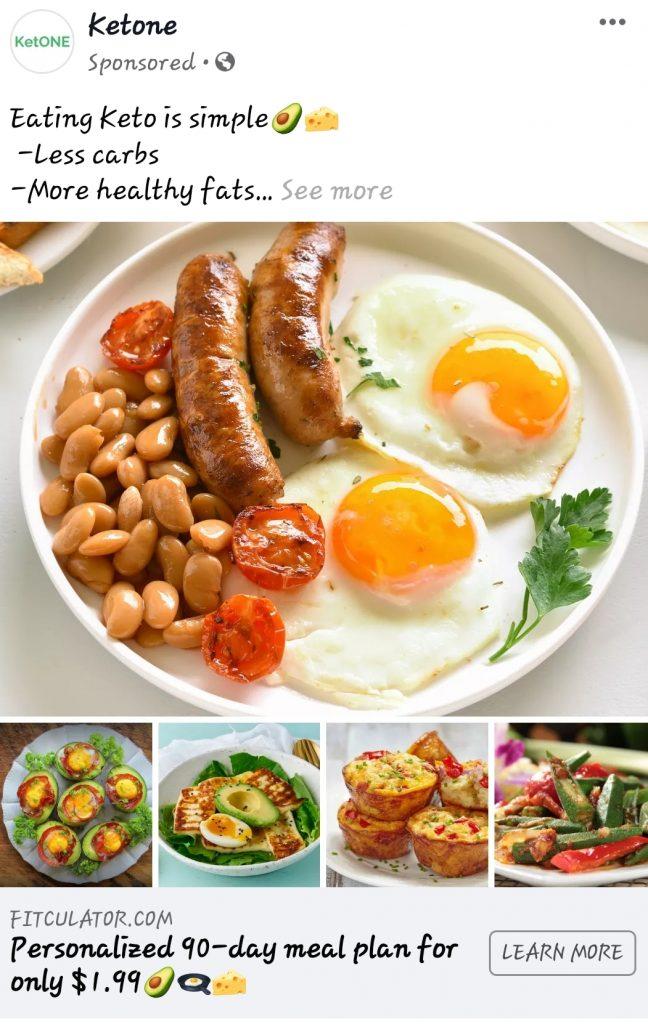 Keto diet FB ads for retargeting