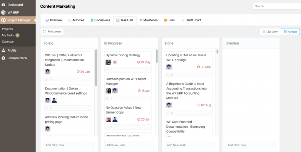 WP Project Manager Features