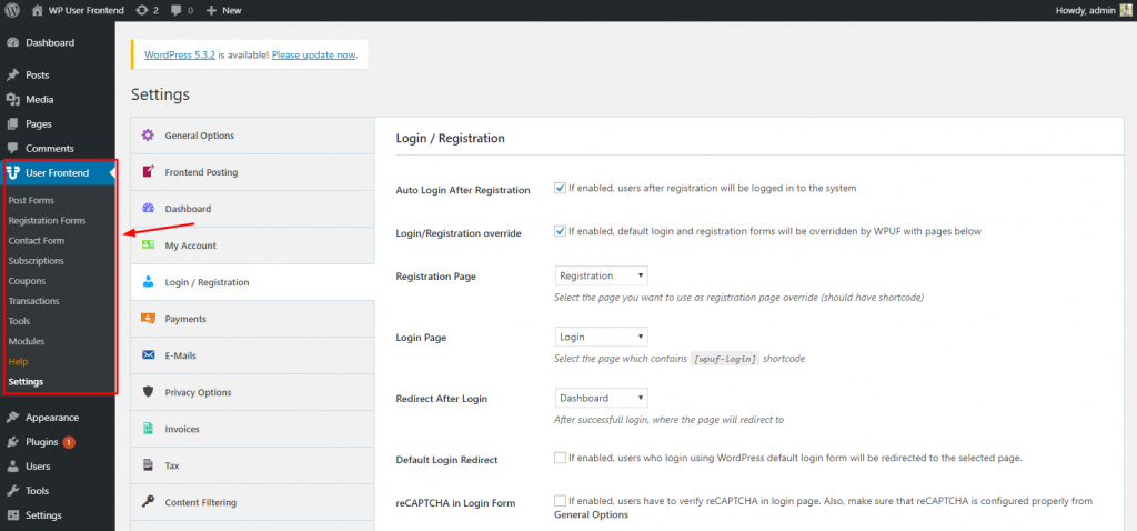 WordPress frontend User Dashboard
