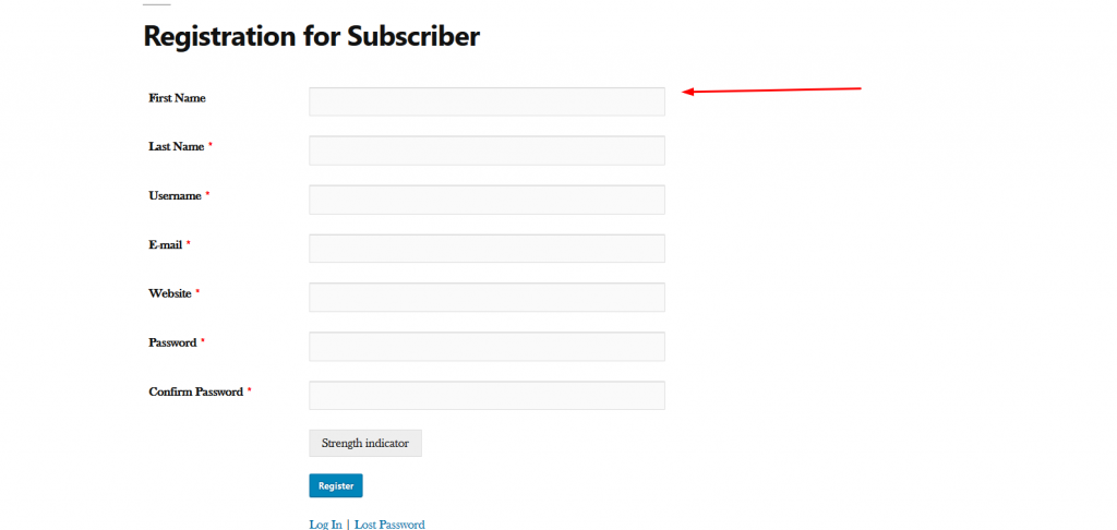 Registration Page For the Users