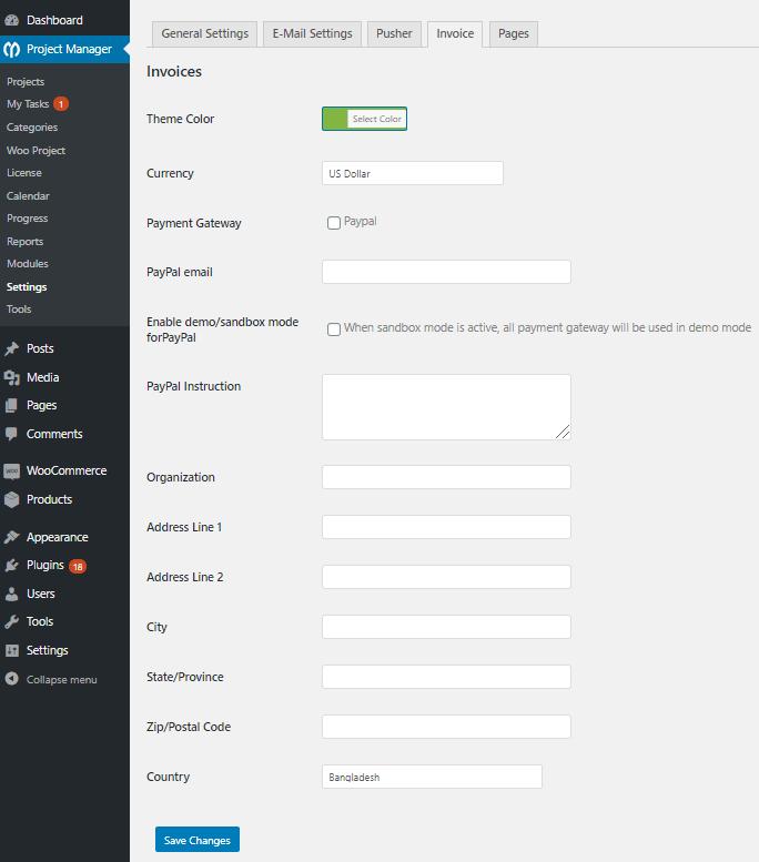 settings woocommerce order module