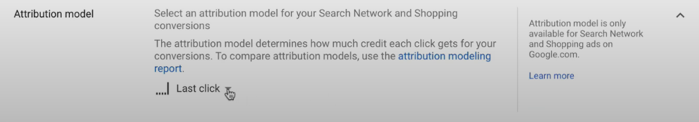 Google Ad Attribution model