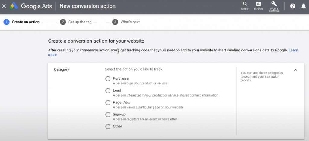 Google conversion tracking for websites