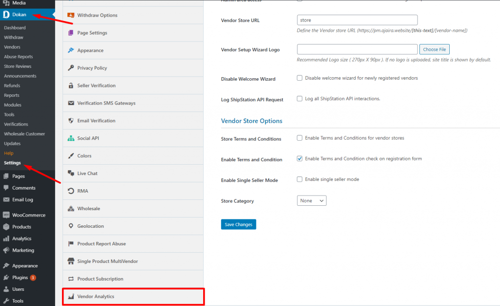 settings vendor analytics