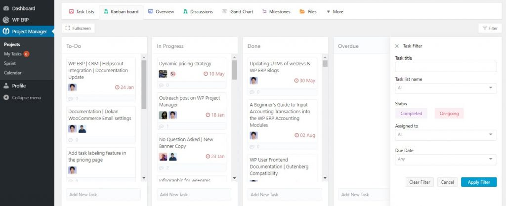 project manager kanban board