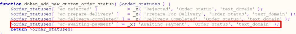 custom order status