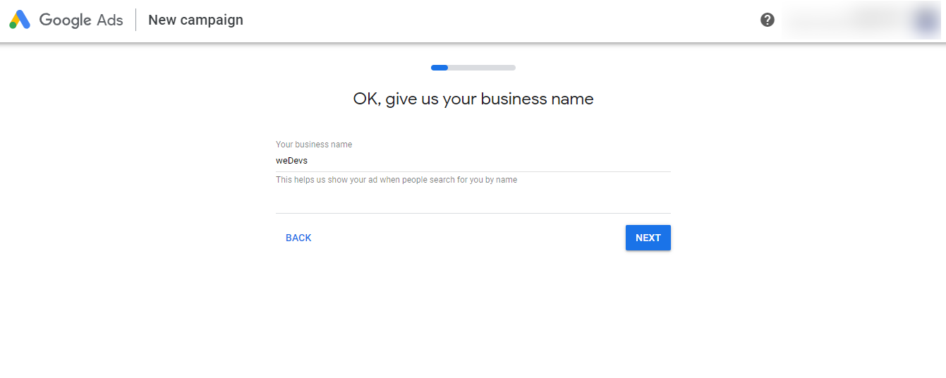 Set your business name