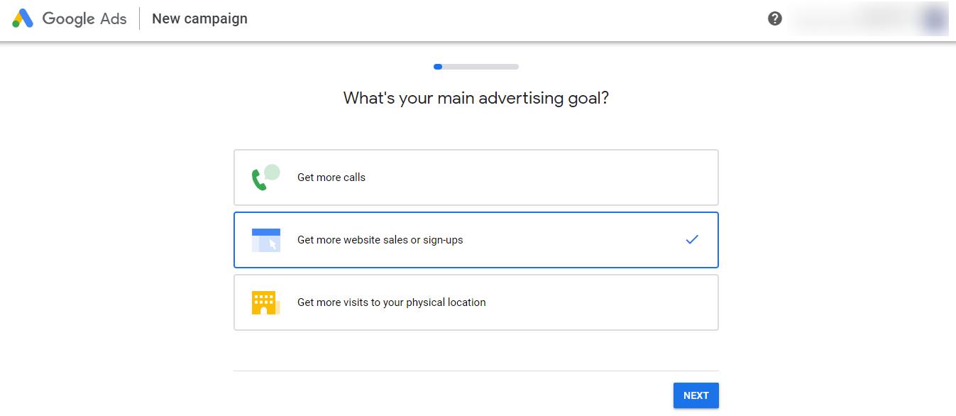 Set your advertising goal