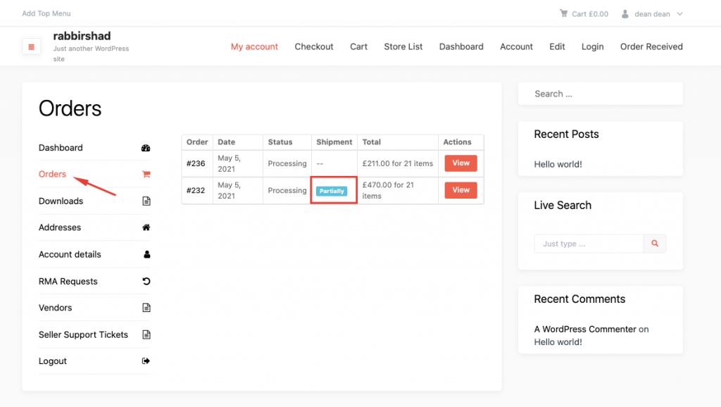 customer shipment tab