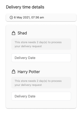 delivery time select