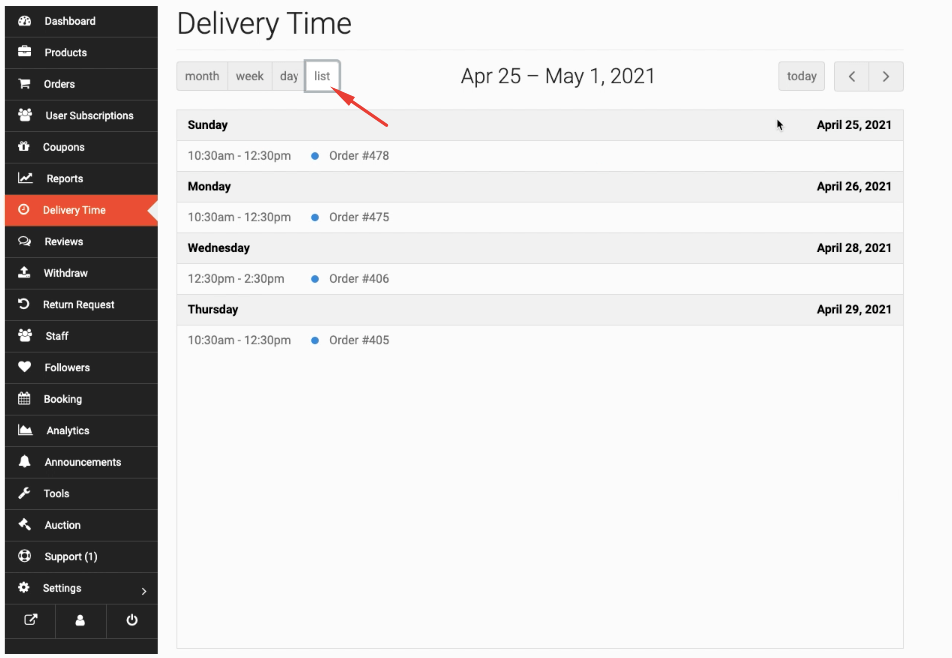 list view choose delivery date