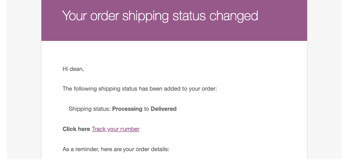 process changed emails Dokan shipping status