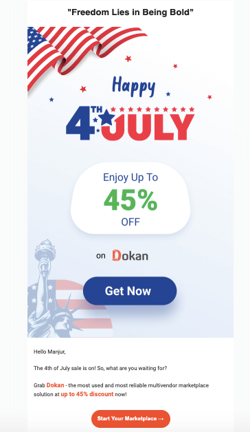 Email from weDevs independence day marketing campaign