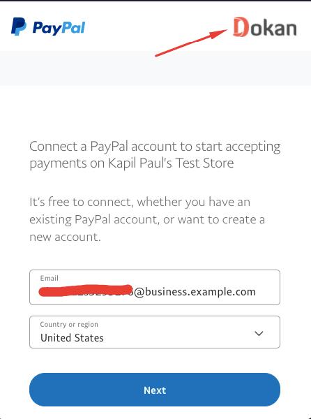 PayPal pop-up window