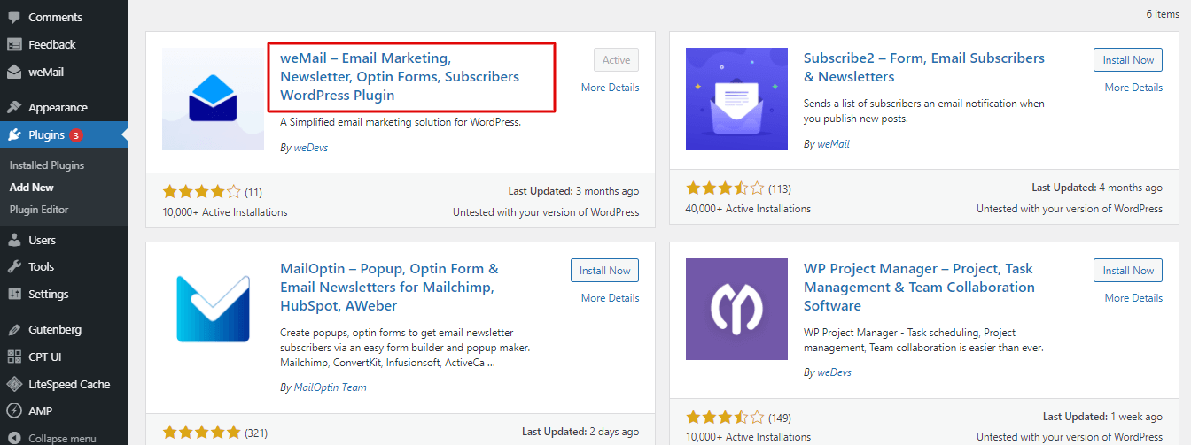 Install wemail to grow email list with wordpress