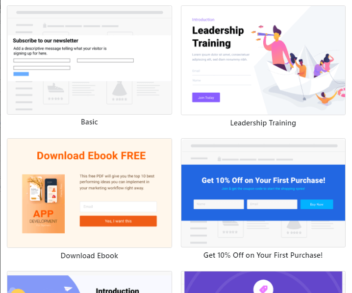 landing page popup to increase email list
