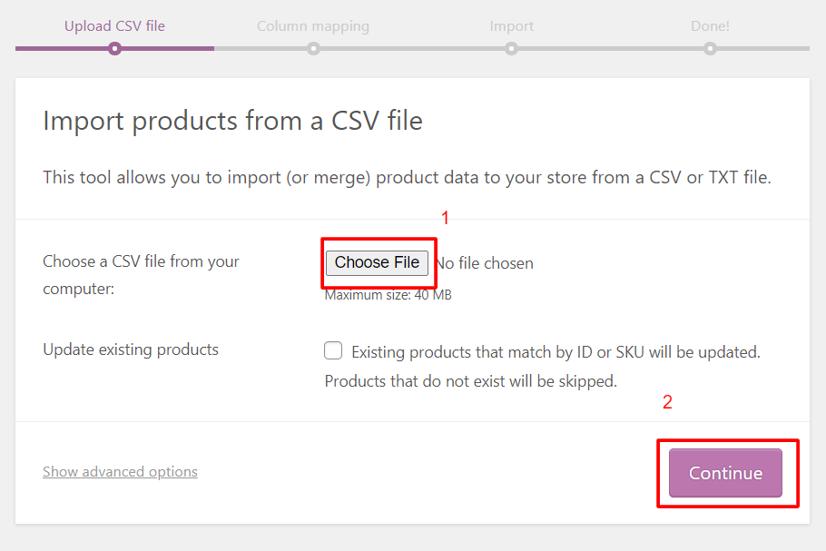 import csv file on site