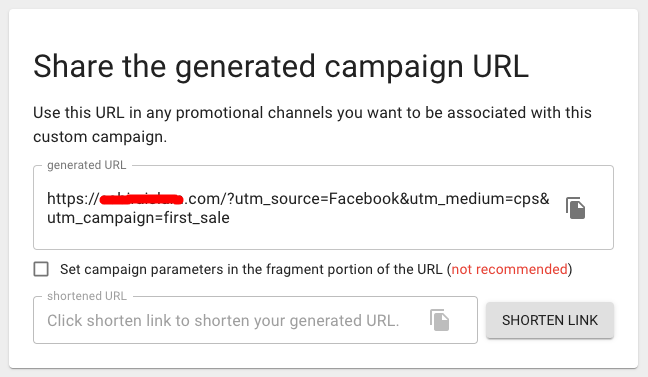 share generated campaign url