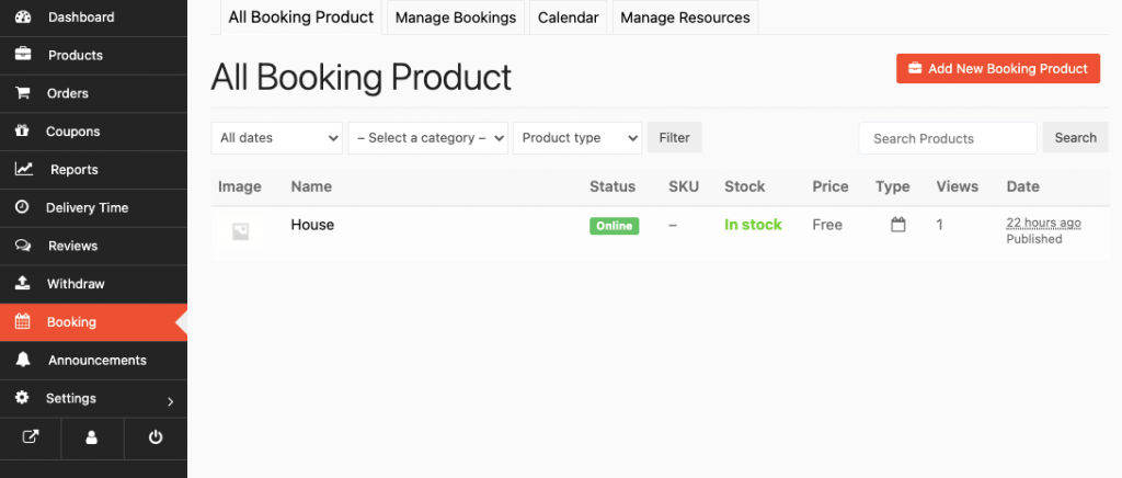 add new booking product