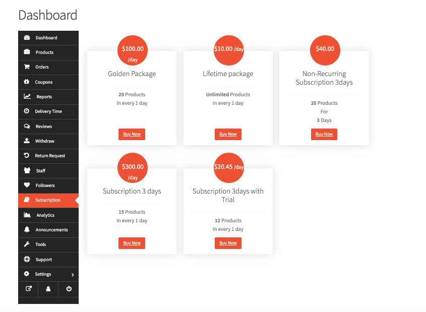 Subscription packs Manage Subscription Payments