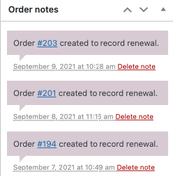 order notes Manage Subscription Payments