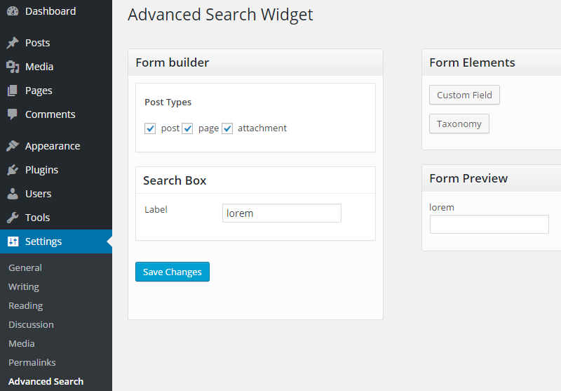 Advanced search widget