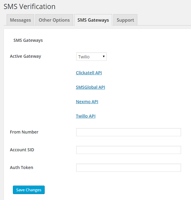 SMS Verification Gateway Configuration