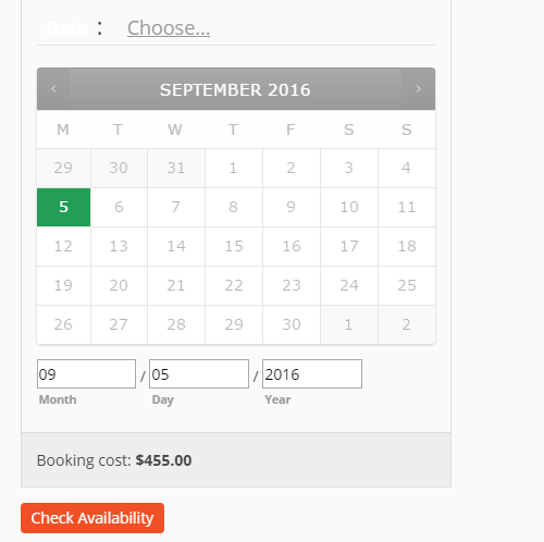 select booking date