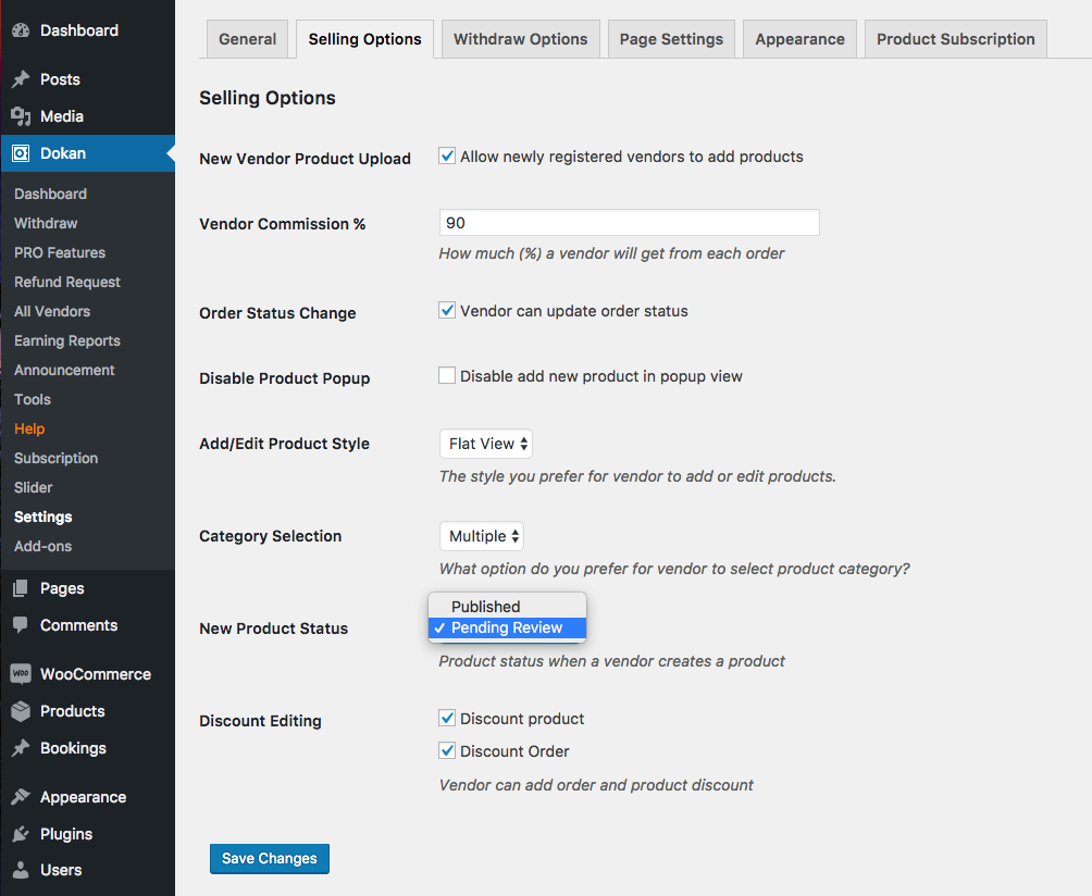 dokan product approval settings