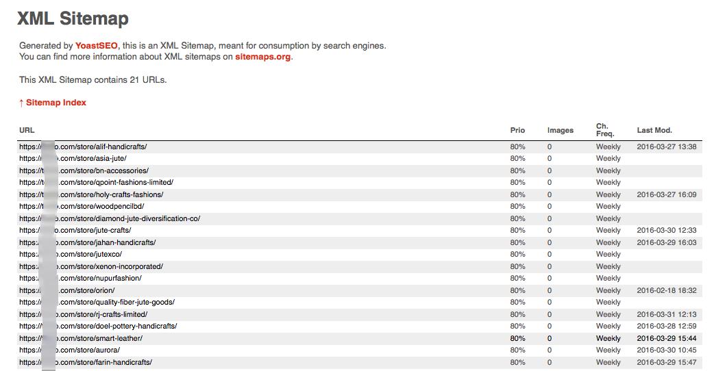Seller / vendor list in sitemap