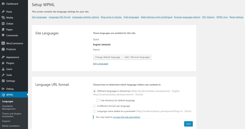 wpml language directory settings