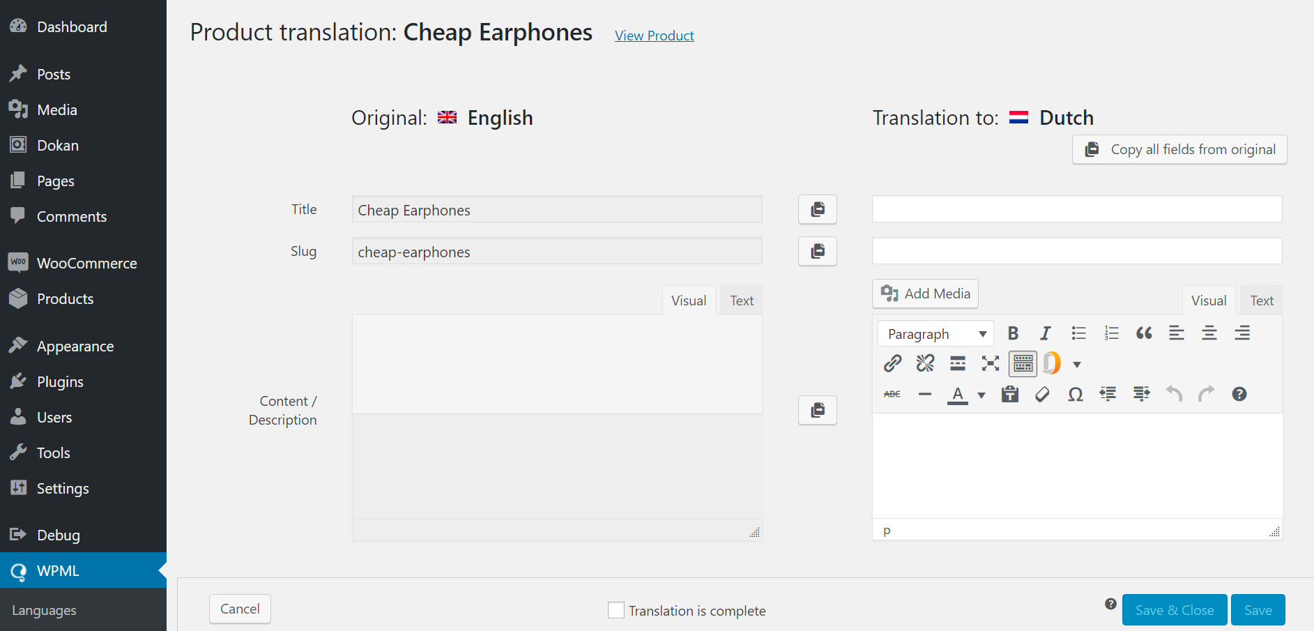 wpml product translation for products