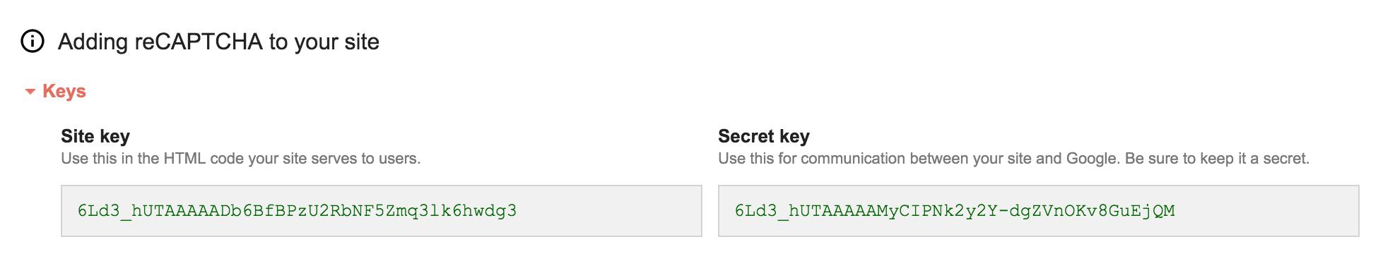 wpuf - reCAPTCHA site and secret key